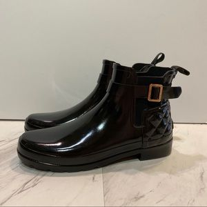 Hunter Quilted Black Gloss Ankle Boots